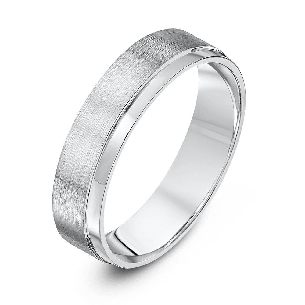 Palladium Light Flat Court Matt & Polished 5Mm Wedding Ring Within Current 5Mm Palladium Wedding Bands (View 10 of 15)
