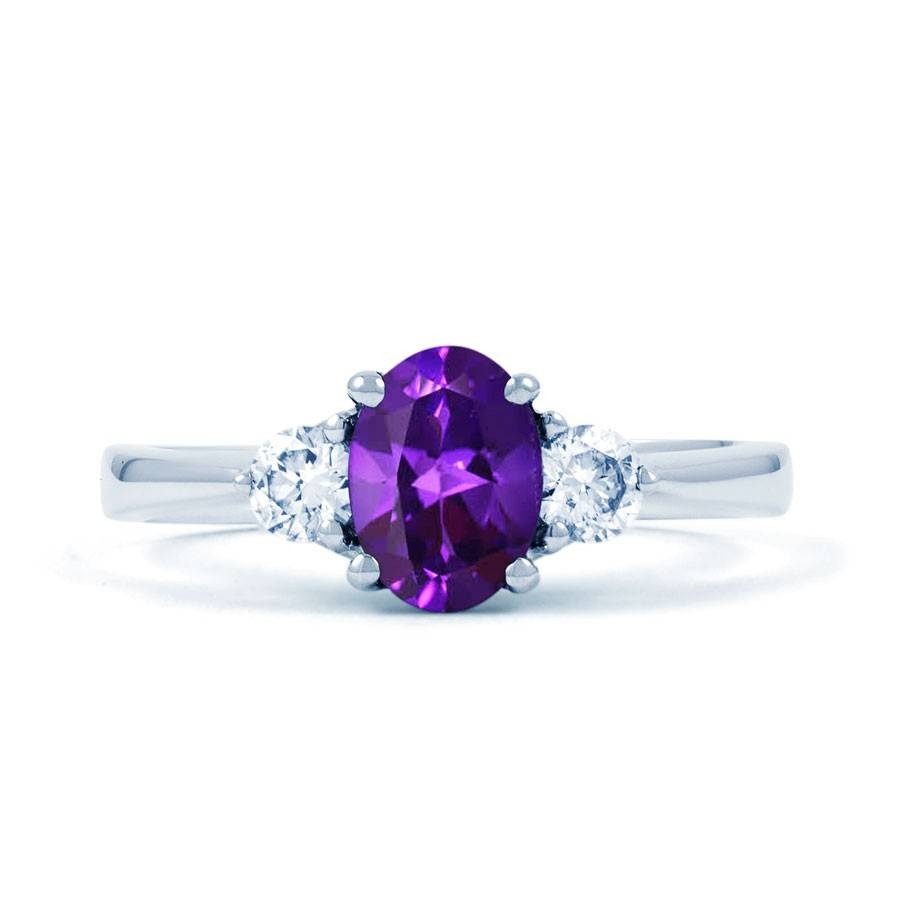 Paragon 18ct White Gold Amethyst And Diamond Engagement Ring Pertaining To Wedding Rings With Amethyst (View 6 of 15)