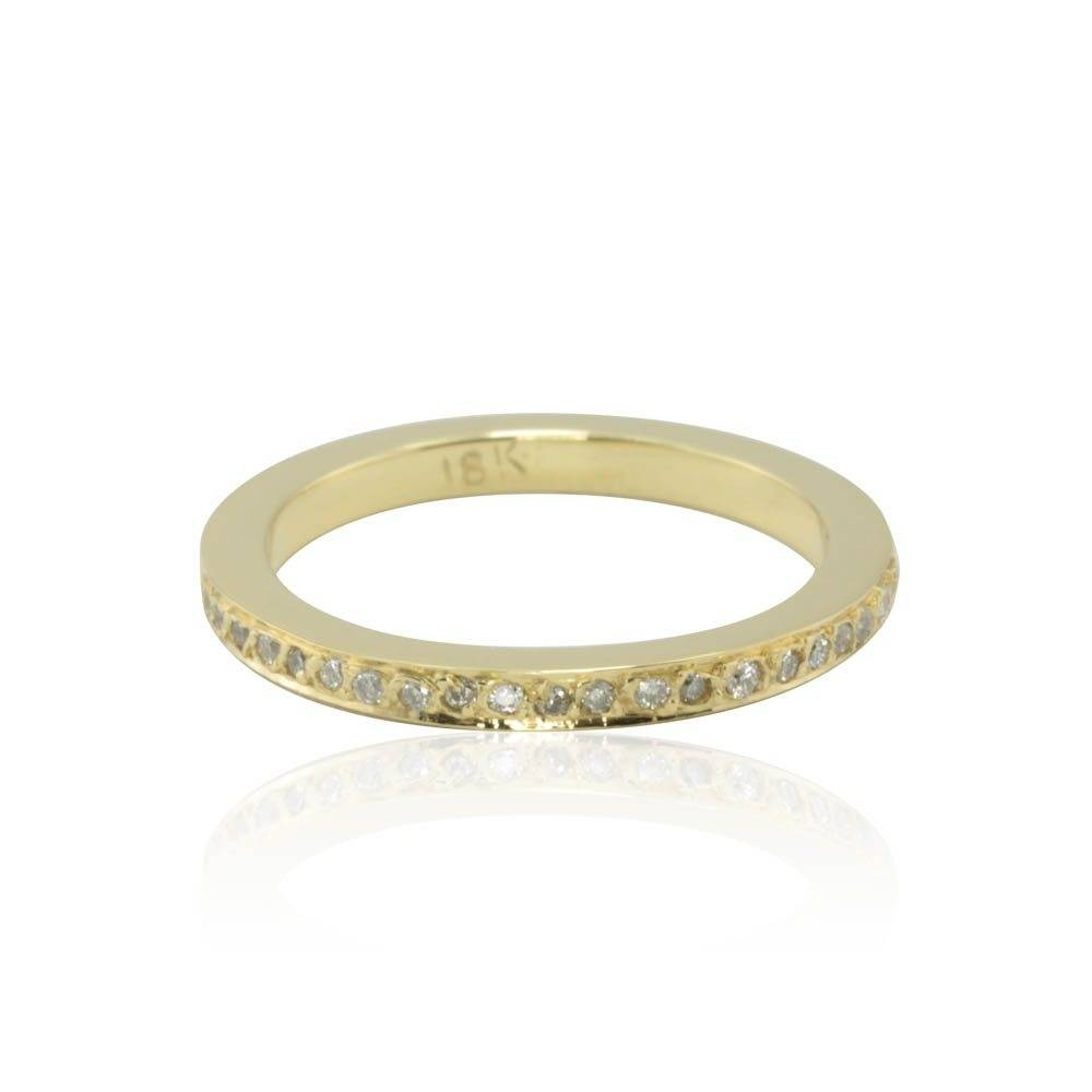 Pave Diamond Wedding Band Half Eternity Style In 18K Yellow Gold With 2017 Pave Diamond Wedding Bands (Gallery 13 of 15)