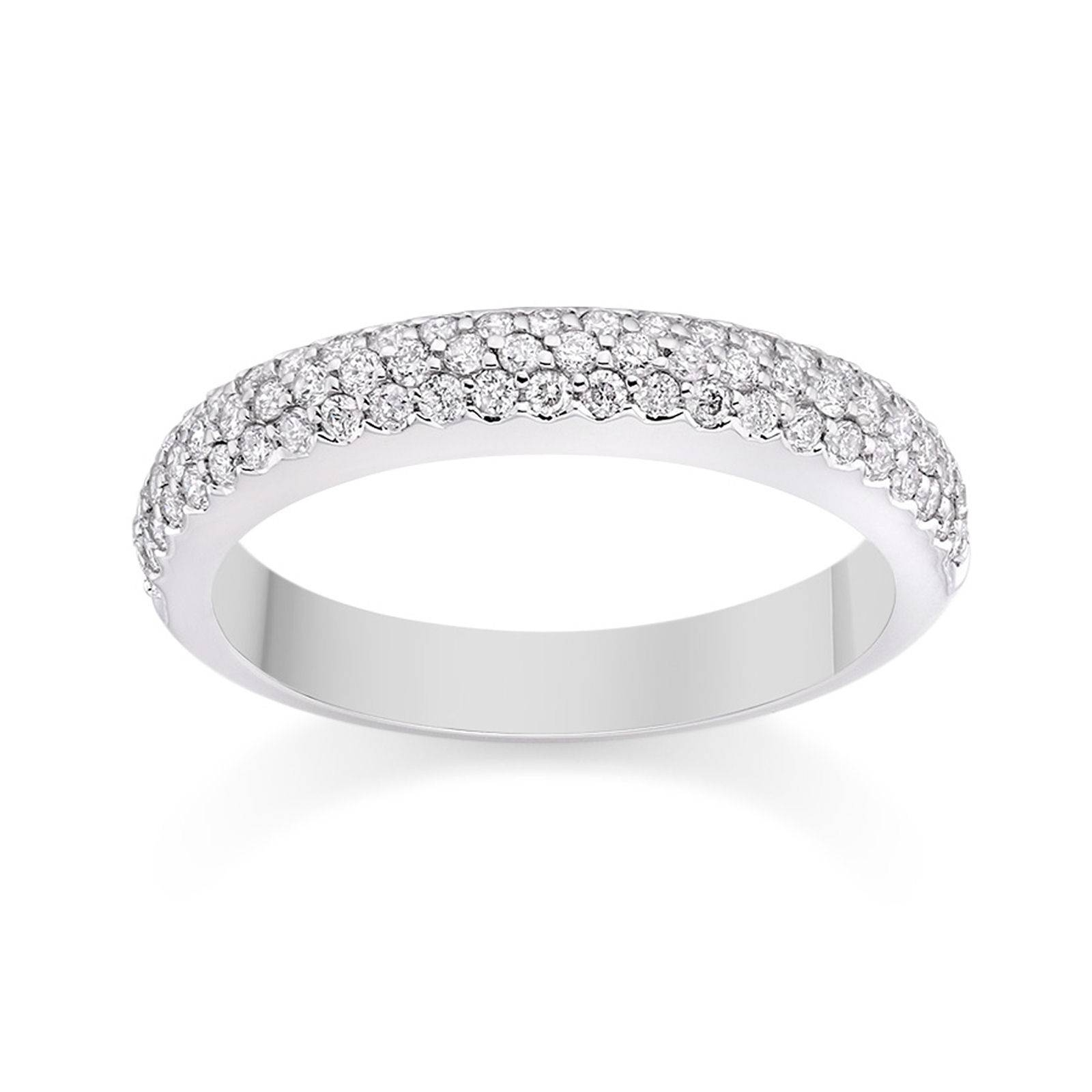 Pave Set Diamond Wedding Ring In 18K White Gold Wedding Dress From In Most Up To Date Pave Diamond Wedding Bands (View 10 of 15)