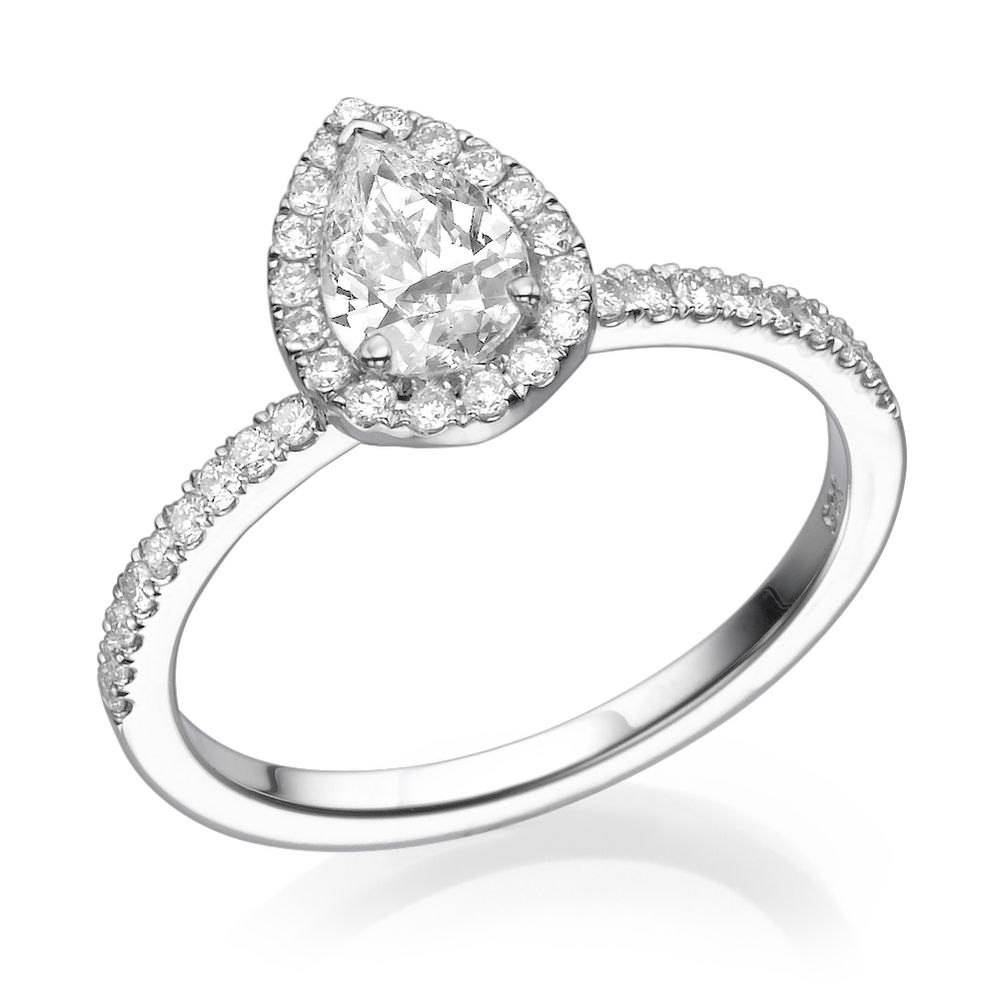 Pear Engagement Ring 14K White Gold Ring 0.5 1 Ct Diamond With 14K White Gold Engagement Rings (Gallery 12 of 15)