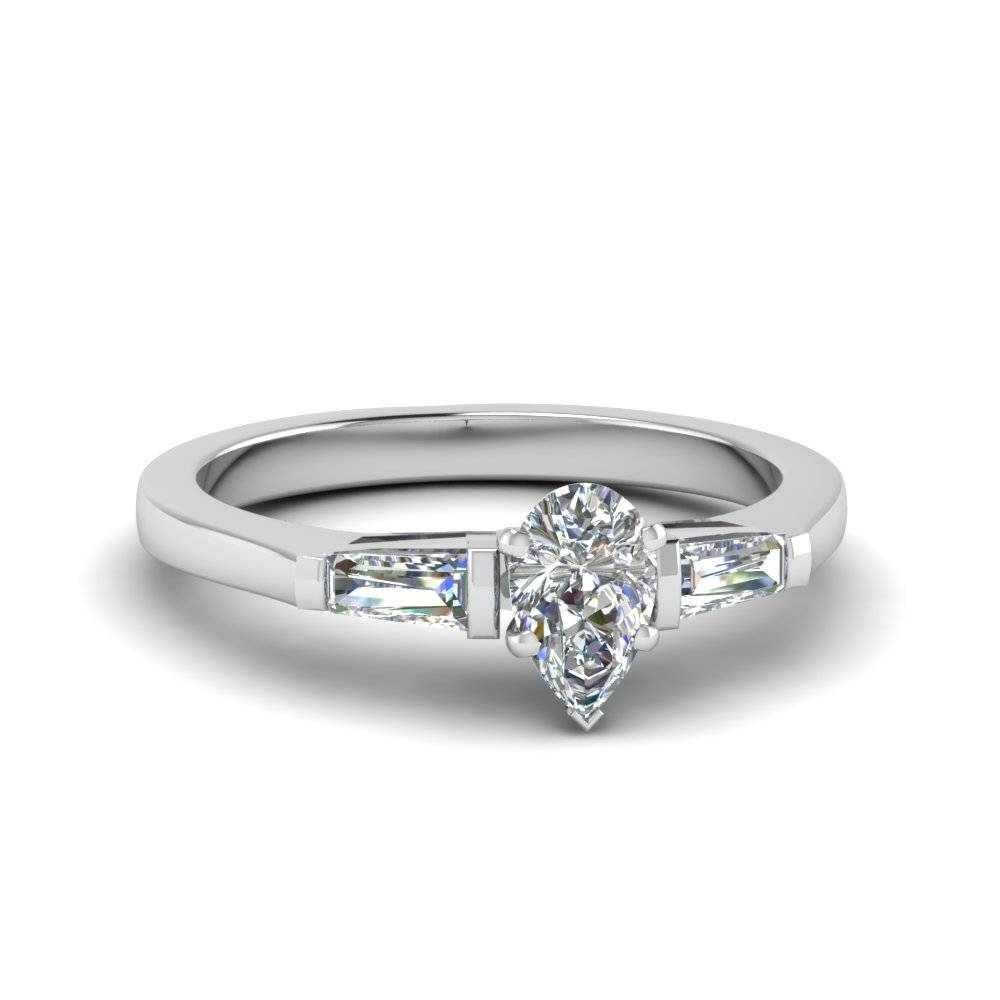 Pear Shaped 3 Stone Ring With Baguette In 950 Platinum Regarding 3 Stone Platinum Engagement Rings (View 7 of 15)