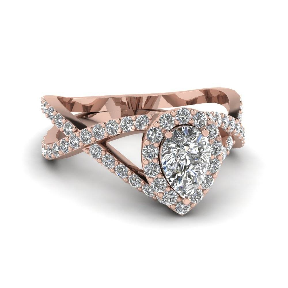 Pear Shaped Diamond Engagement Ring In 18K Rose Gold | Fascinating In Cross Wedding Bands (Gallery 13 of 15)