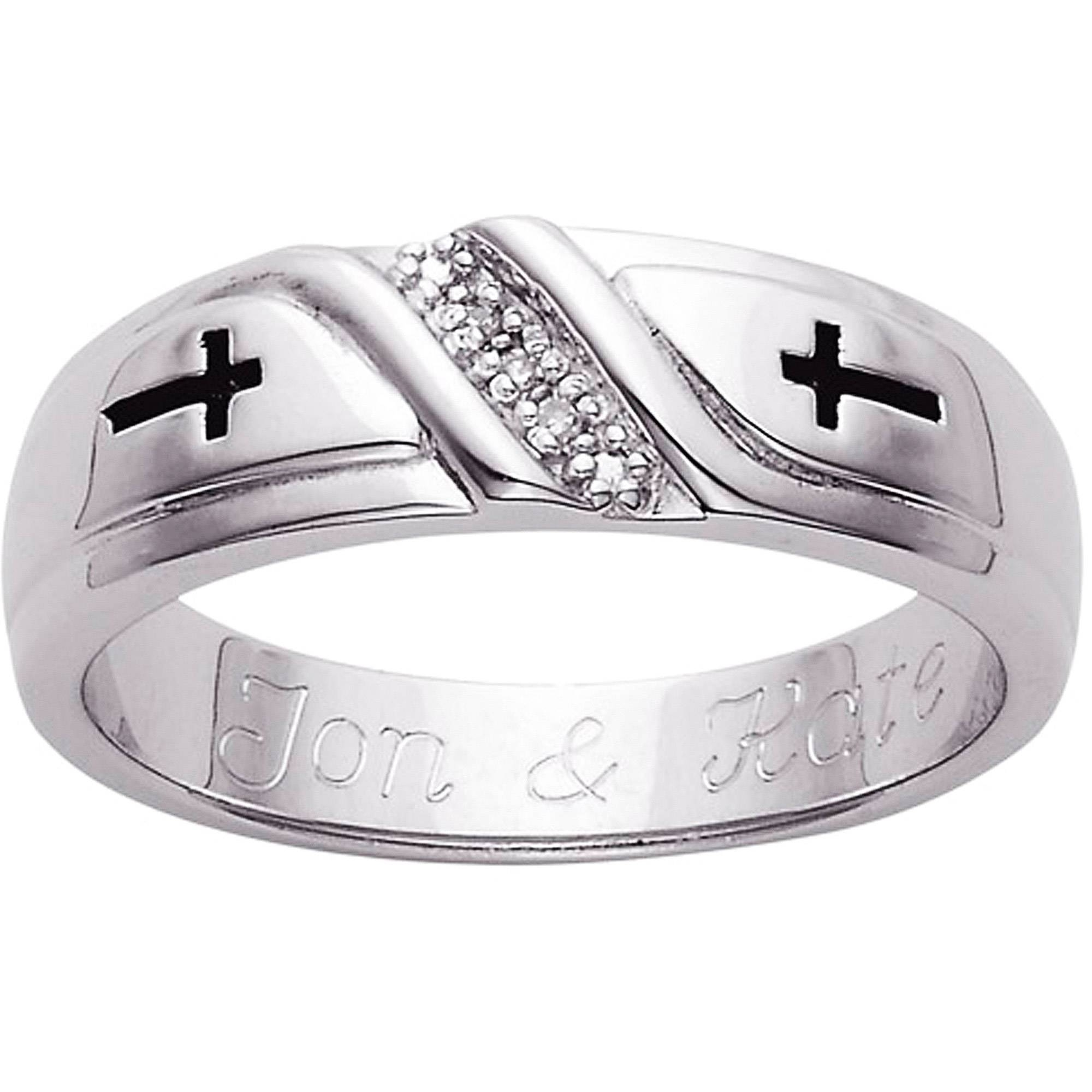 Personalized Men's Sterling Silver Diamond Accent Cross Wedding Regarding Mens Wedding Bands With Cross (View 12 of 15)