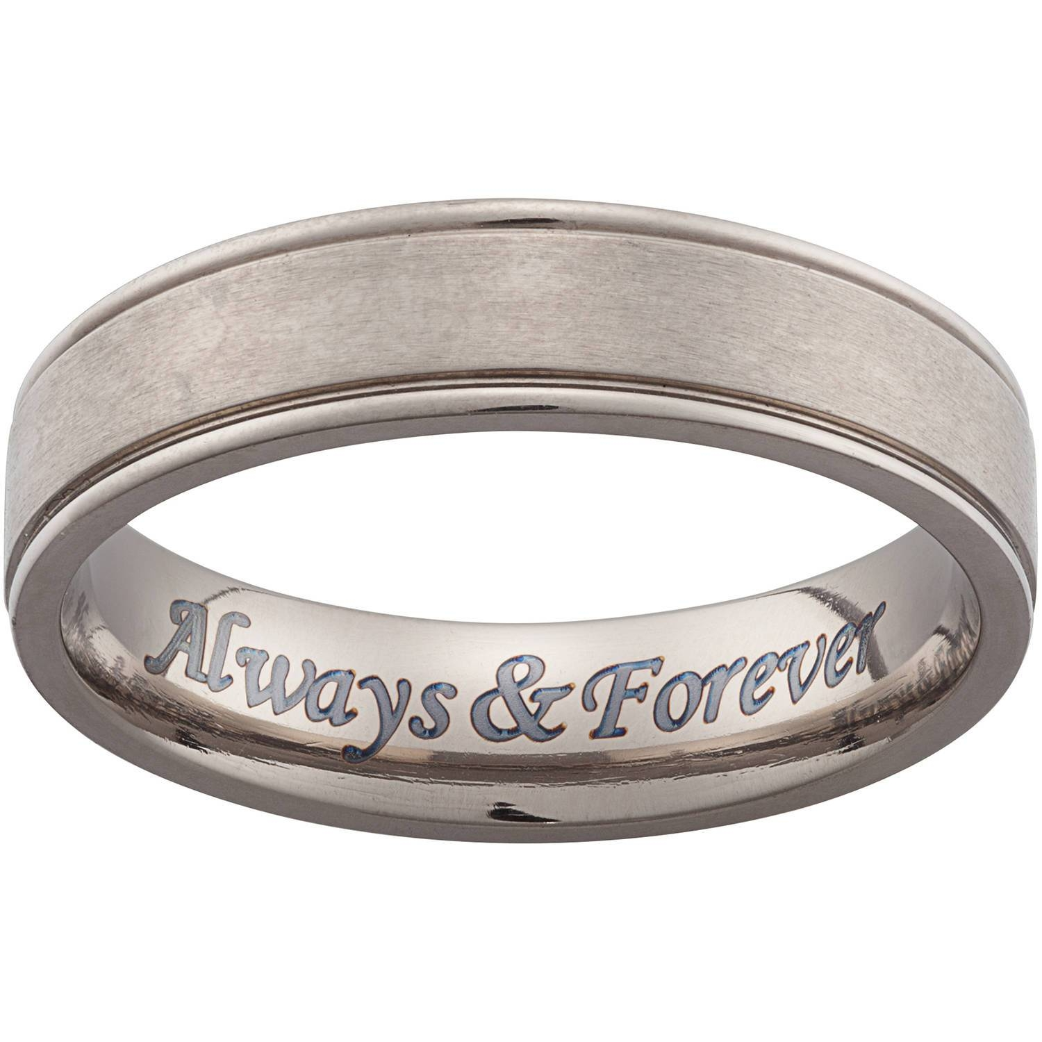 Personalized Men's Titanium Engraved Beveled Band – Walmart Throughout Mens Wedding Bands With Engraving (View 8 of 15)