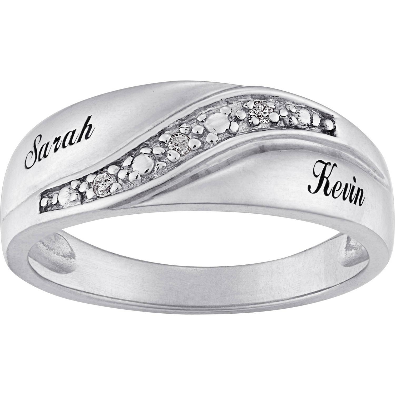 Personalized Sterling Silver Mens Diamond Accent Name Wedding Band With Mens Sterling Wedding Bands (Gallery 1 of 15)