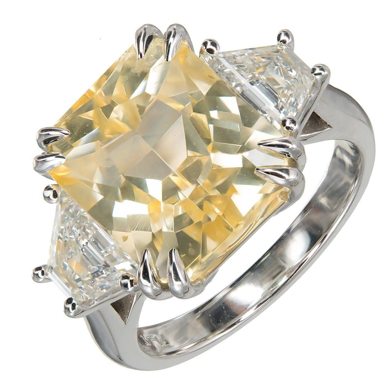 Peter Suchy 8.76 Carat Natural Yellow Sapphire Diamond Platinum Pertaining To Platinum Diamond And Sapphire Engagement Rings (Gallery 11 of 15)