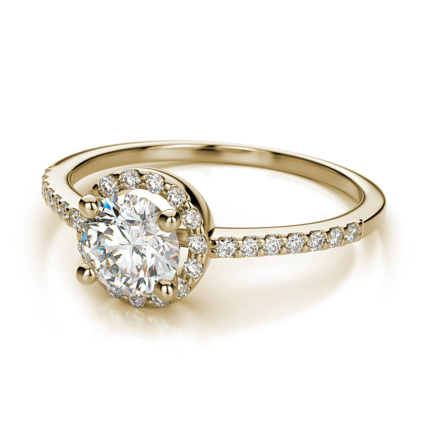 Petite Halo Round Diamond Engagement Ring In 18K Yellow Gold Si H I In Round Cut Engagement Rings With Side Stones (View 7 of 15)