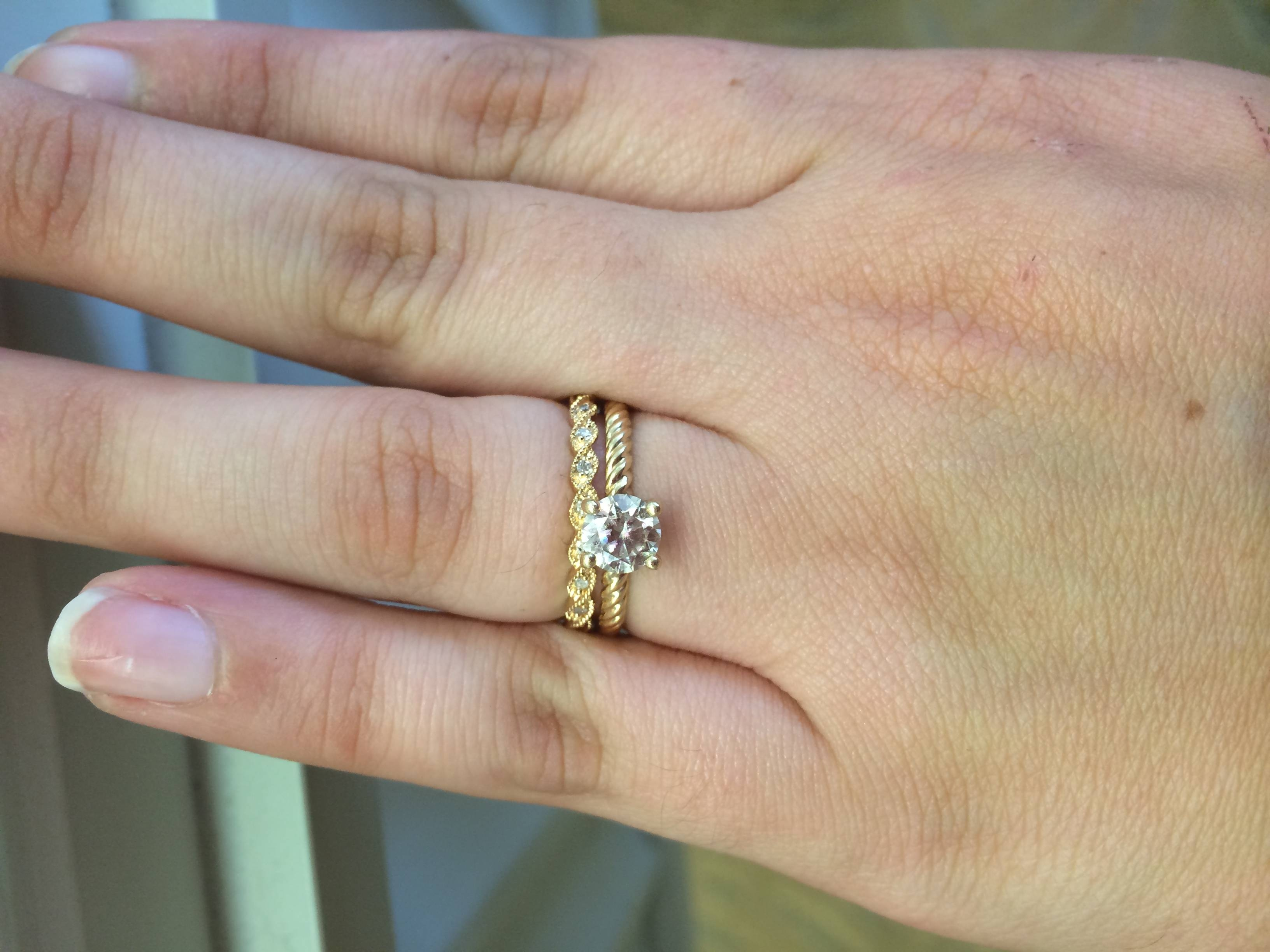 Picked A Wedding Band, Unique Yellow Gold Twist Bands – Weddingbee Regarding Twist Wedding Bands (View 7 of 15)