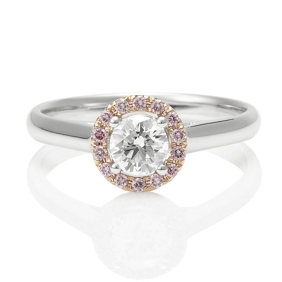 Pink And White Diamond Engagement Rings Regarding Pink Diamond White Gold Engagement Rings (Gallery 7 of 15)