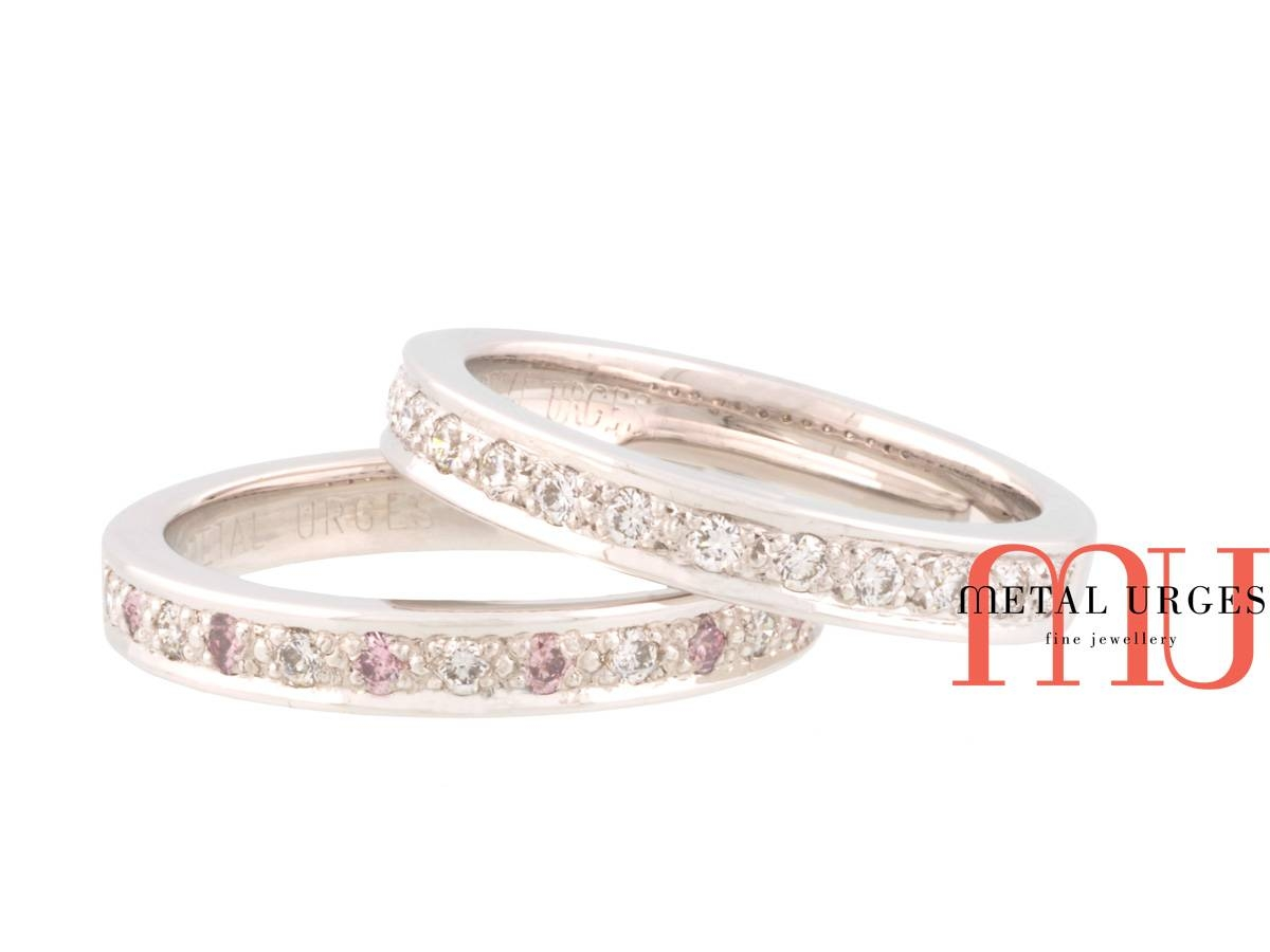 Pink Australian Argyle And White Diamond Platinum Wedding Rings Regarding Current Pink And Diamond Wedding Bands (View 13 of 15)