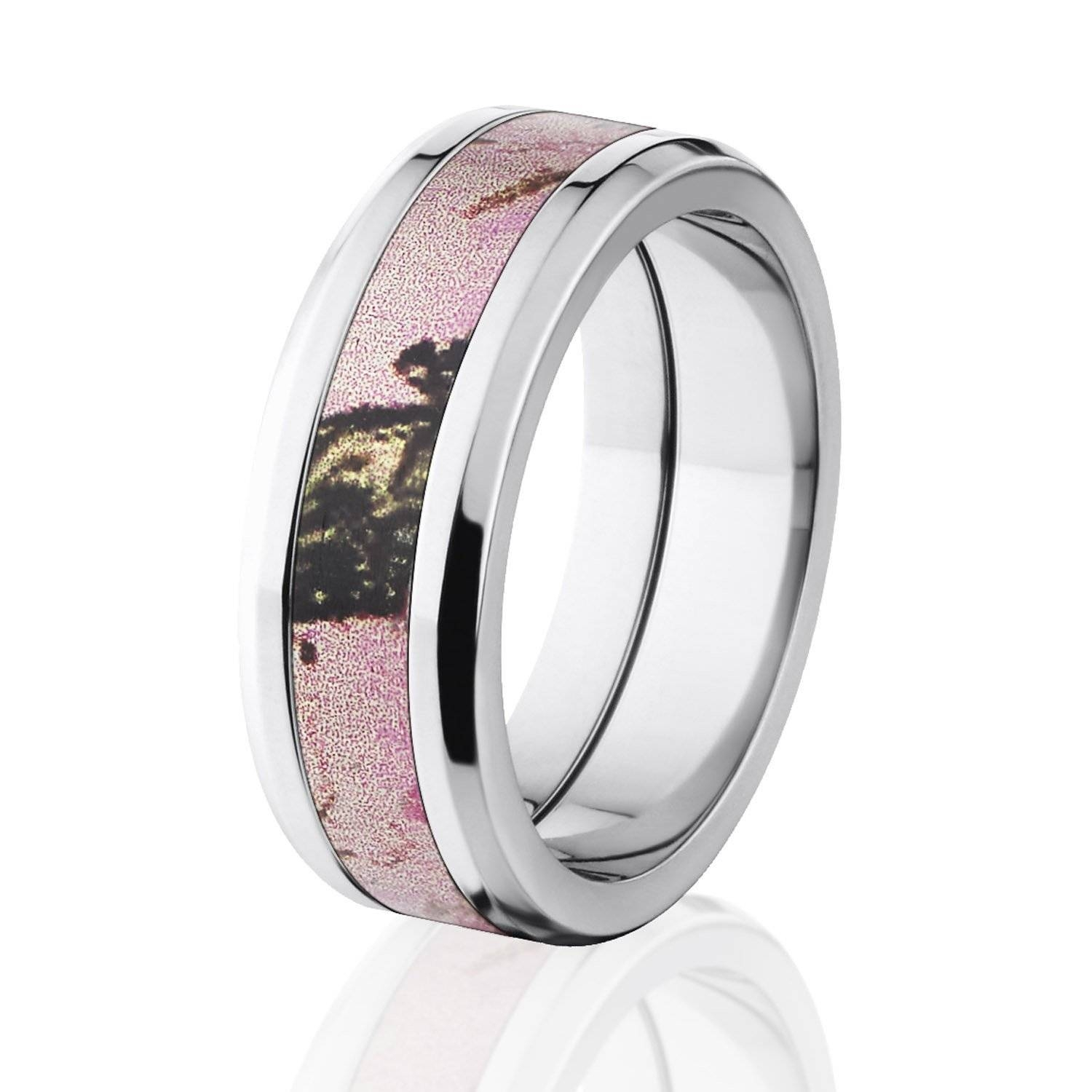 Pink Camo Ring Bevel Titanium Camo Rings Hunting Camo Wedding Ring Inside Custom Camo Wedding Rings (View 11 of 15)