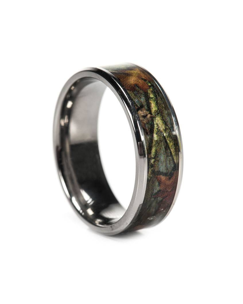 Pink Camo Ring Bevel Titanium Camo Rings Hunting Camo Wedding Ring With Custom Camo Wedding Rings (Gallery 6 of 15)