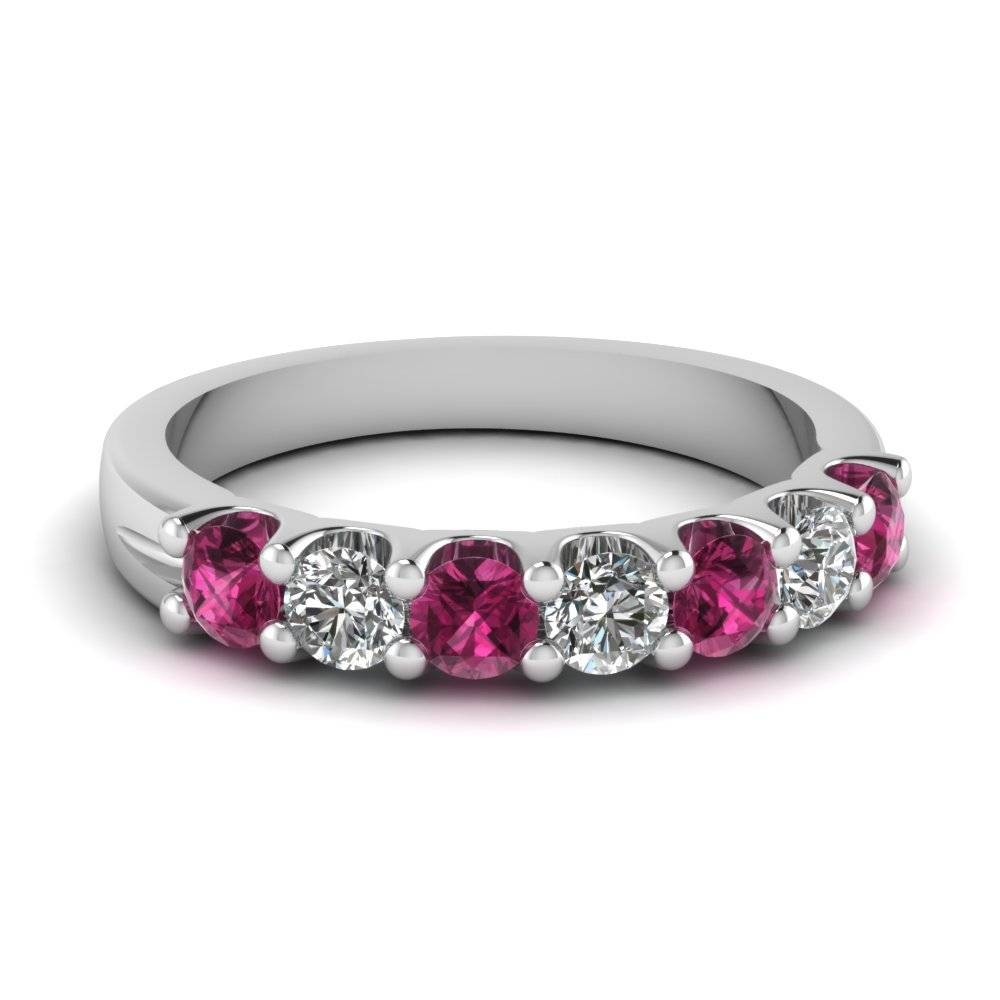Pink Sapphire 7 Stone Round Diamond Anniversary Band In 950 For Most Current Sapphire Wedding Bands For Women (View 7 of 15)
