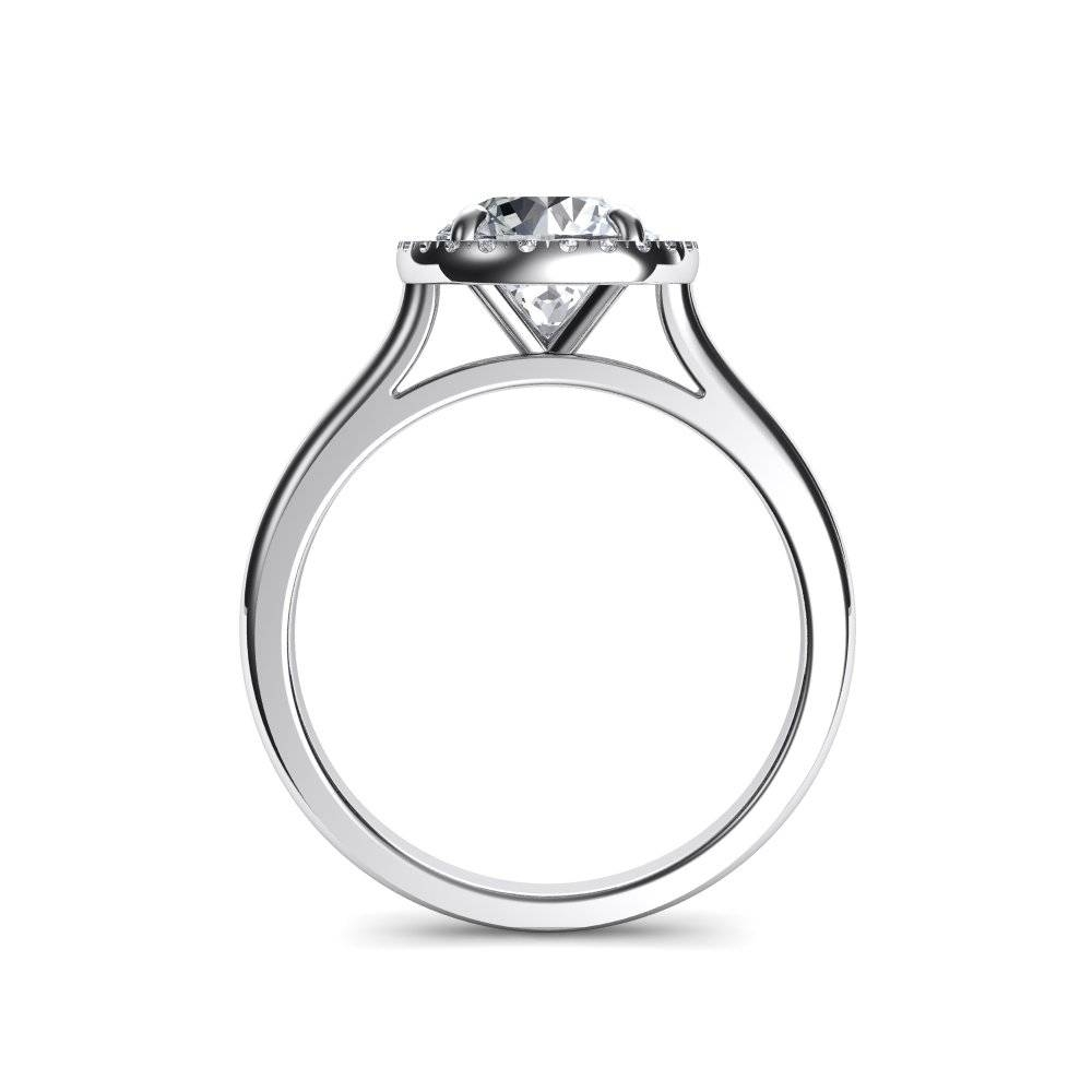 Plain Shank Floating Halo Round Cut Diamond Engagement Ring Intended For Floating Diamond Engagement Rings (View 6 of 15)
