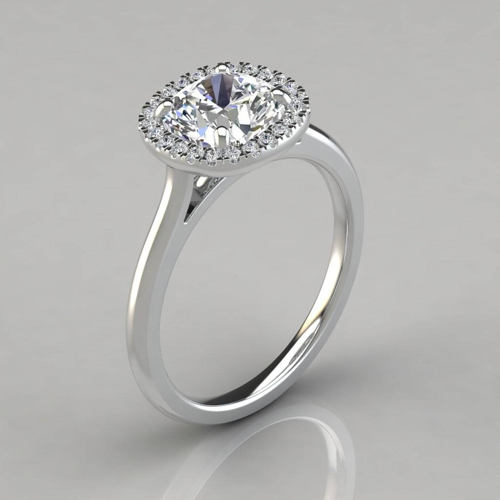 Plain Shank Halo Cushion Cut Engagement Ring – Puregemsjewels With Regard To Floating Diamond Engagement Rings (View 14 of 15)