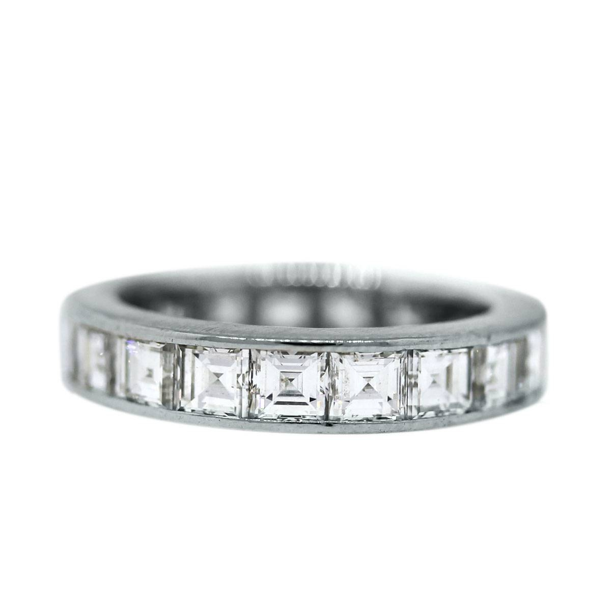 Platinum 3.5 Ctw Asscher Cut Diamond Eternity Band Ring Boca Raton In Current Asscher Cut Wedding Bands (Gallery 4 of 15)