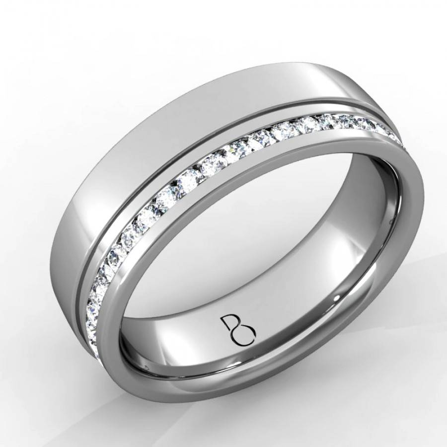 Platinum 950 Mens Diamond Set Wedding Band  (View 9 of 15)