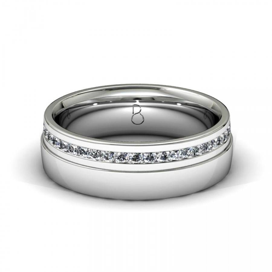 Platinum 950 Mens Diamond Set Wedding Band  (View 4 of 15)