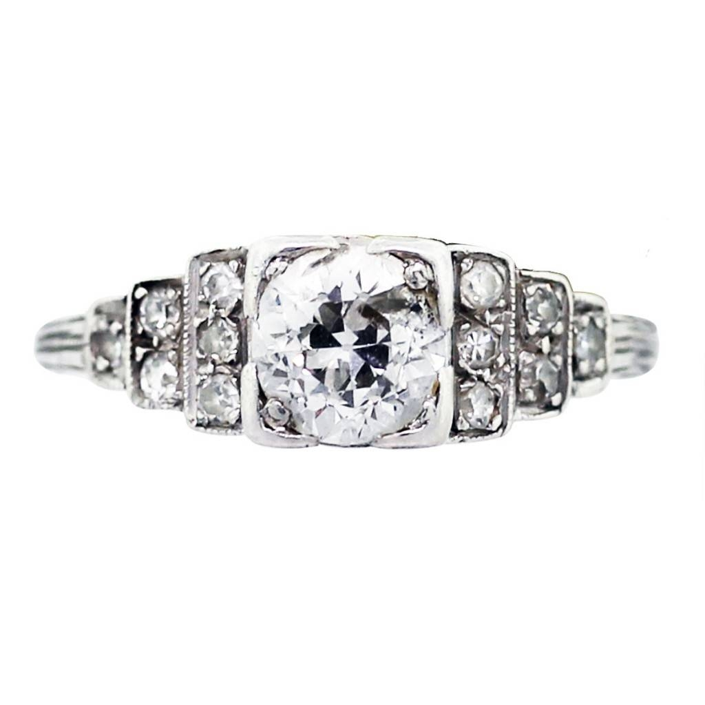 Platinum And Diamond Vintage Engagement Ring Boca Raton With Regard To Boca Raton Engagement Rings (View 13 of 15)