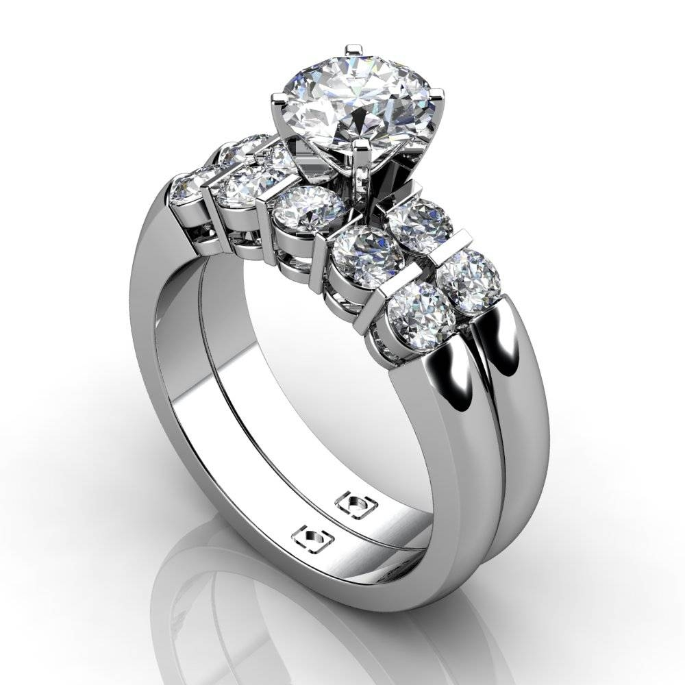 Platinum Beautiful Bar Set Engagement Ring And Matching Wedding Throughout Wedding Bands To Match Solitaire Engagement Ring (View 8 of 15)