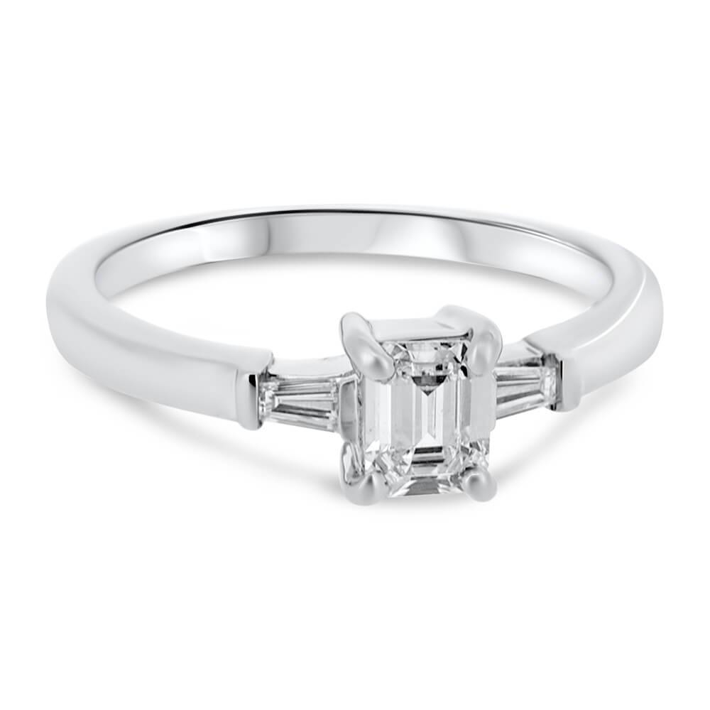 Platinum Emerald Cut Diamond With Tapered Baguette Cut Diamonds In Baguette Cut Diamond Engagement Rings (View 12 of 15)