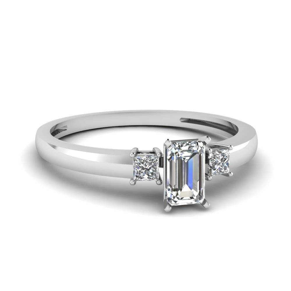 Platinum Emerald Cut Princess Cut White Diamond Three Stone Pertaining To Emerald Cut Three Stone Diamond Engagement Rings (View 14 of 15)