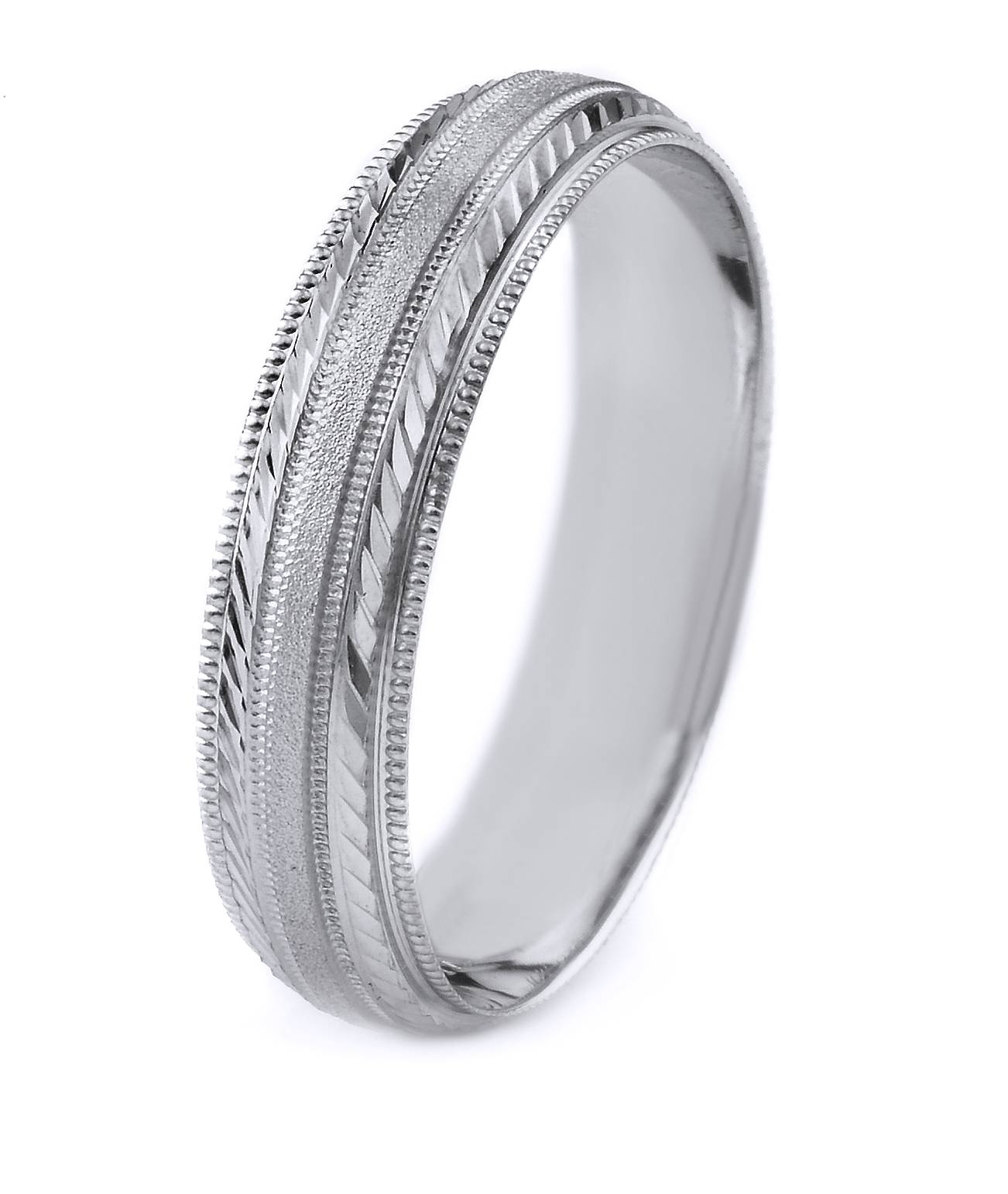 Platinum Men's Wedding Band With Stone Finish Center, Polished Inside Most Recent Platinum Milgrain Wedding Bands (View 10 of 15)
