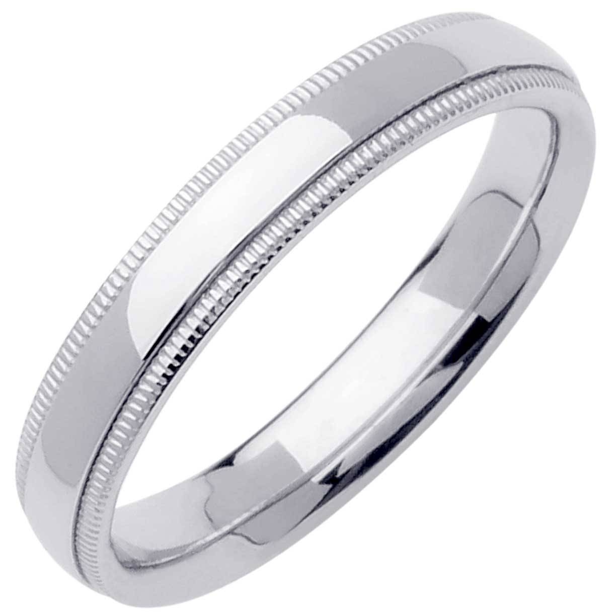 Platinum Milgrain Plain Band 4Mm  3000046 – Shop At Wedding Rings Inside Millgrain Wedding Bands (View 14 of 15)