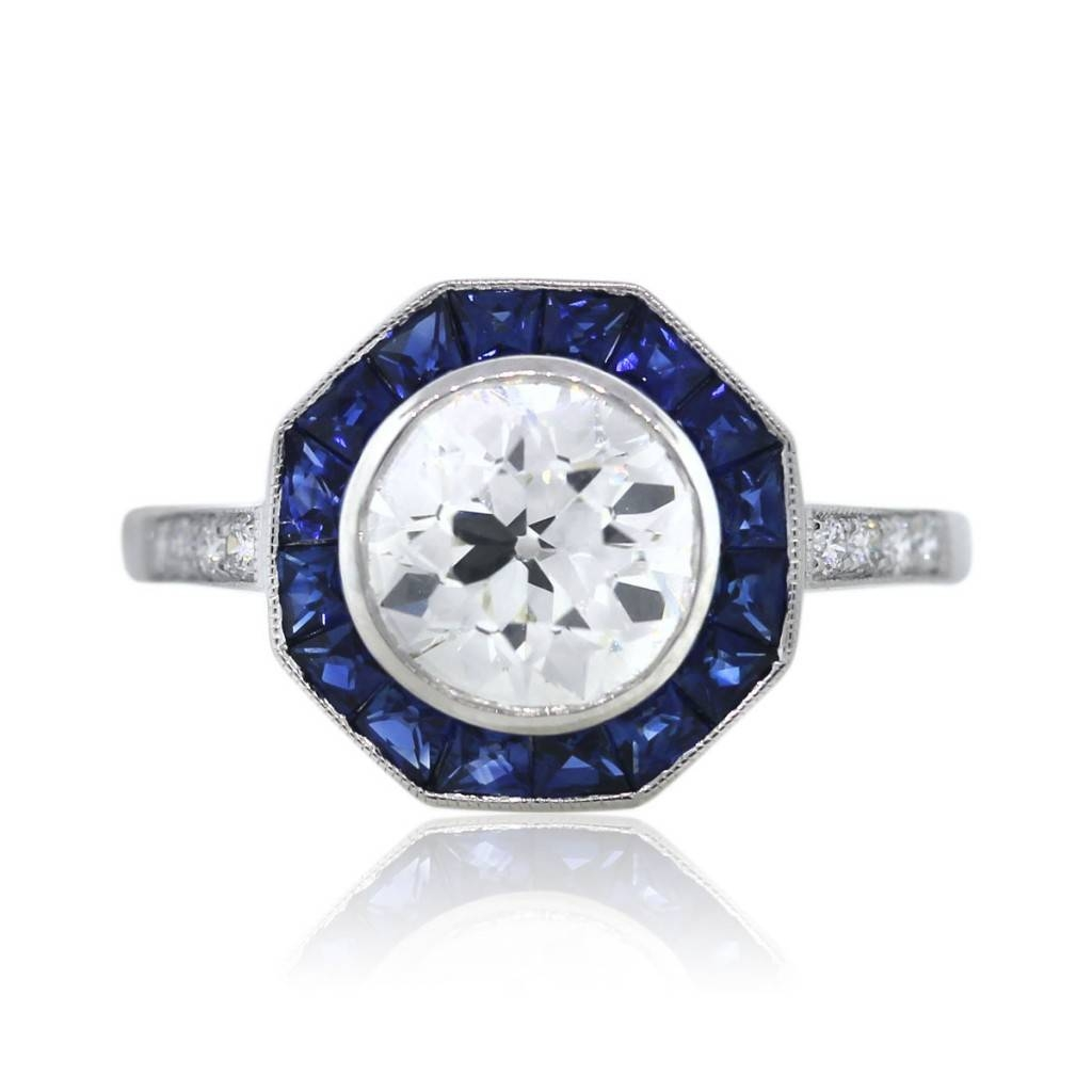 Platinum Octagonal Art Deco Diamond And Sapphire Engagement Ring With Platinum Diamond And Sapphire Engagement Rings (View 9 of 15)