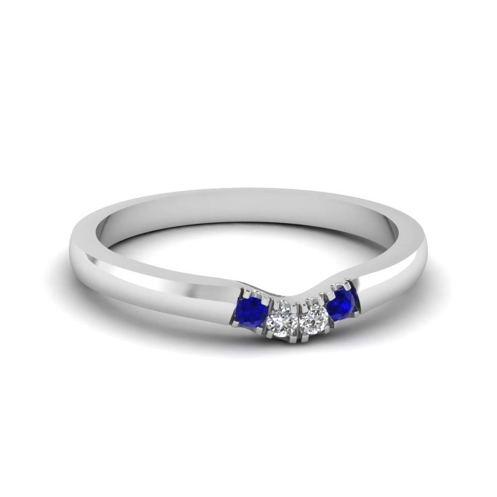 Platinum Pave Blue Sapphire Wedding Band | Fascinating Diamonds Throughout Curved Sapphire Wedding Bands (Gallery 5 of 15)