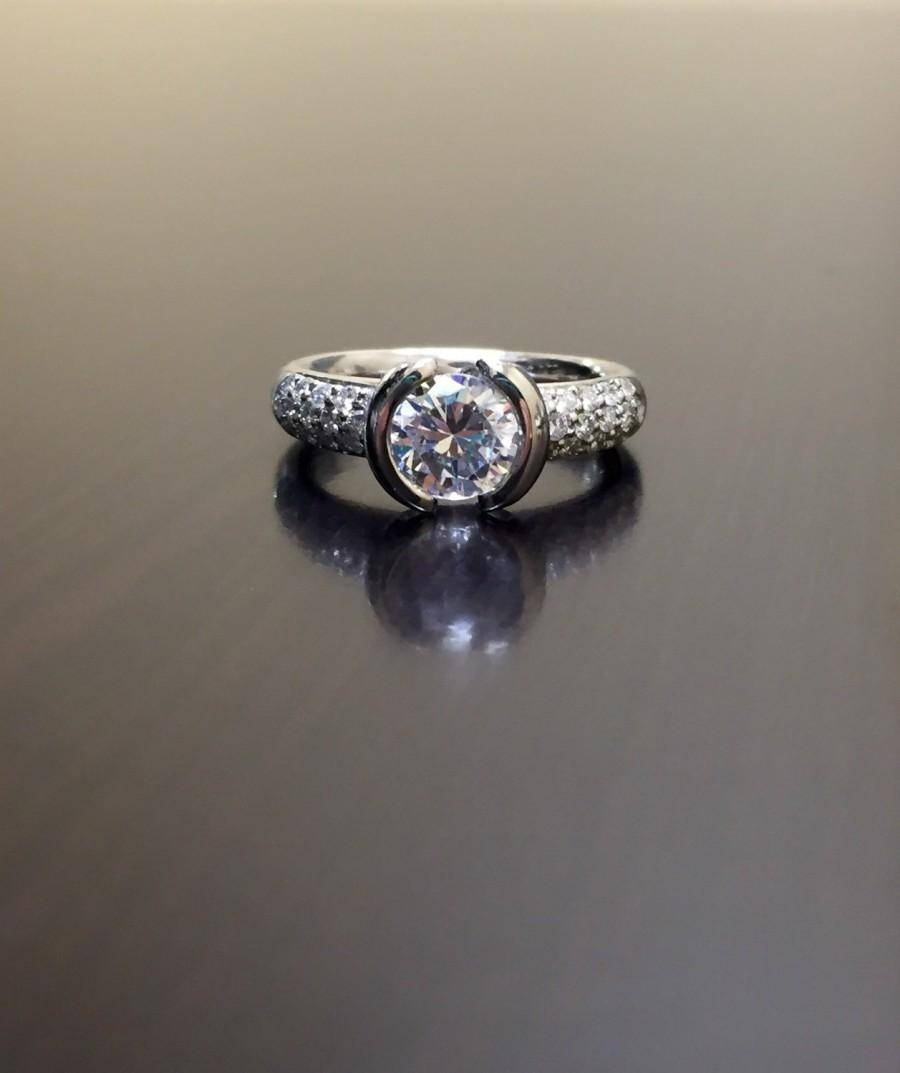 Platinum Pave Diamond Engagement Ring – Platinum Diamond Wedding With Regard To Simple Modern Engagement Rings (Gallery 14 of 15)