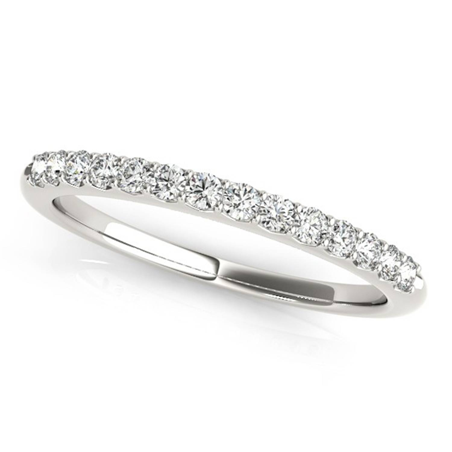 Platinum Petite Pave Diamond Wedding Band Throughout Newest Pave Setting Wedding Bands (View 8 of 15)