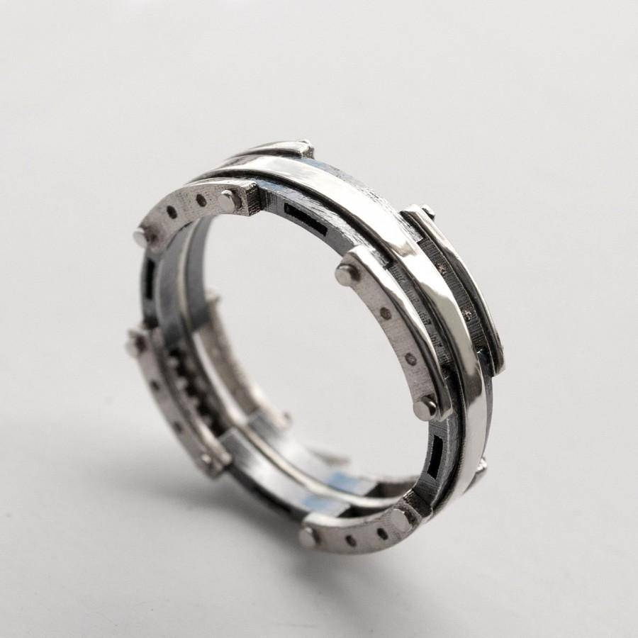 Platinum Wedding Band, Men's Platinum And Oxidized Silver Wedding Intended For Male Platinum Wedding Rings (View 11 of 15)