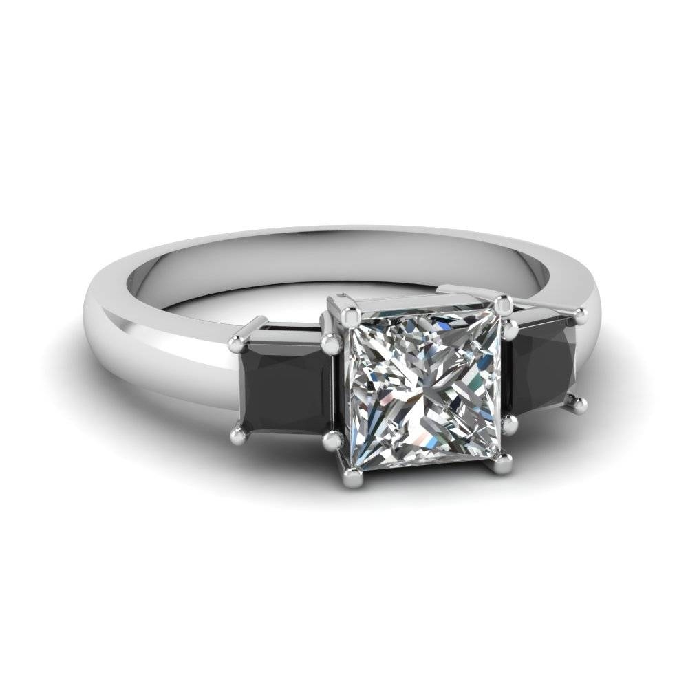 Princess Cut Black Diamond Three Stone Diamond Engagement Rings Within Black Stone Wedding Rings (View 10 of 15)