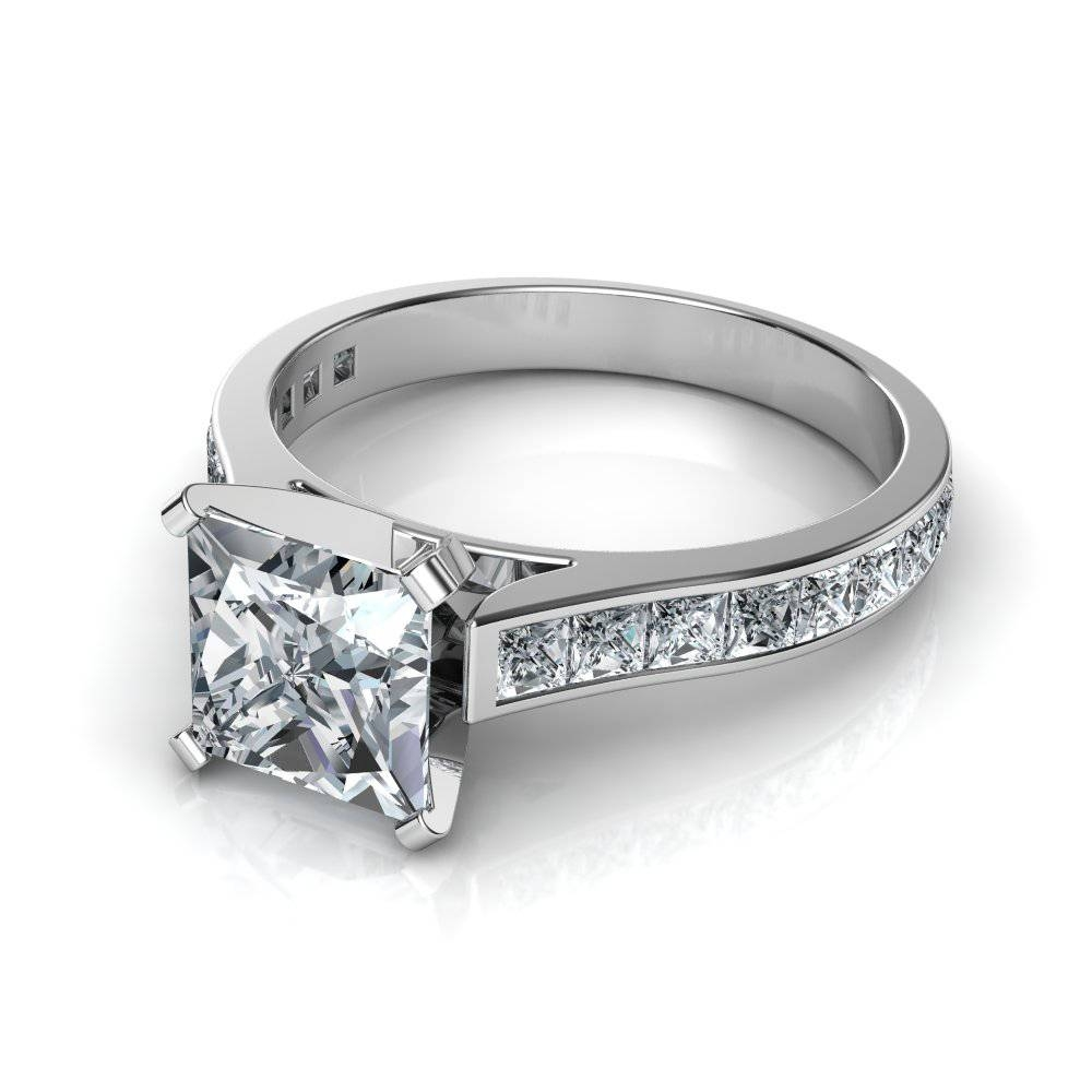 Princess Cut Channel Set Diamond Engagement Ring With Engagement Rings With Side Diamonds (View 7 of 15)