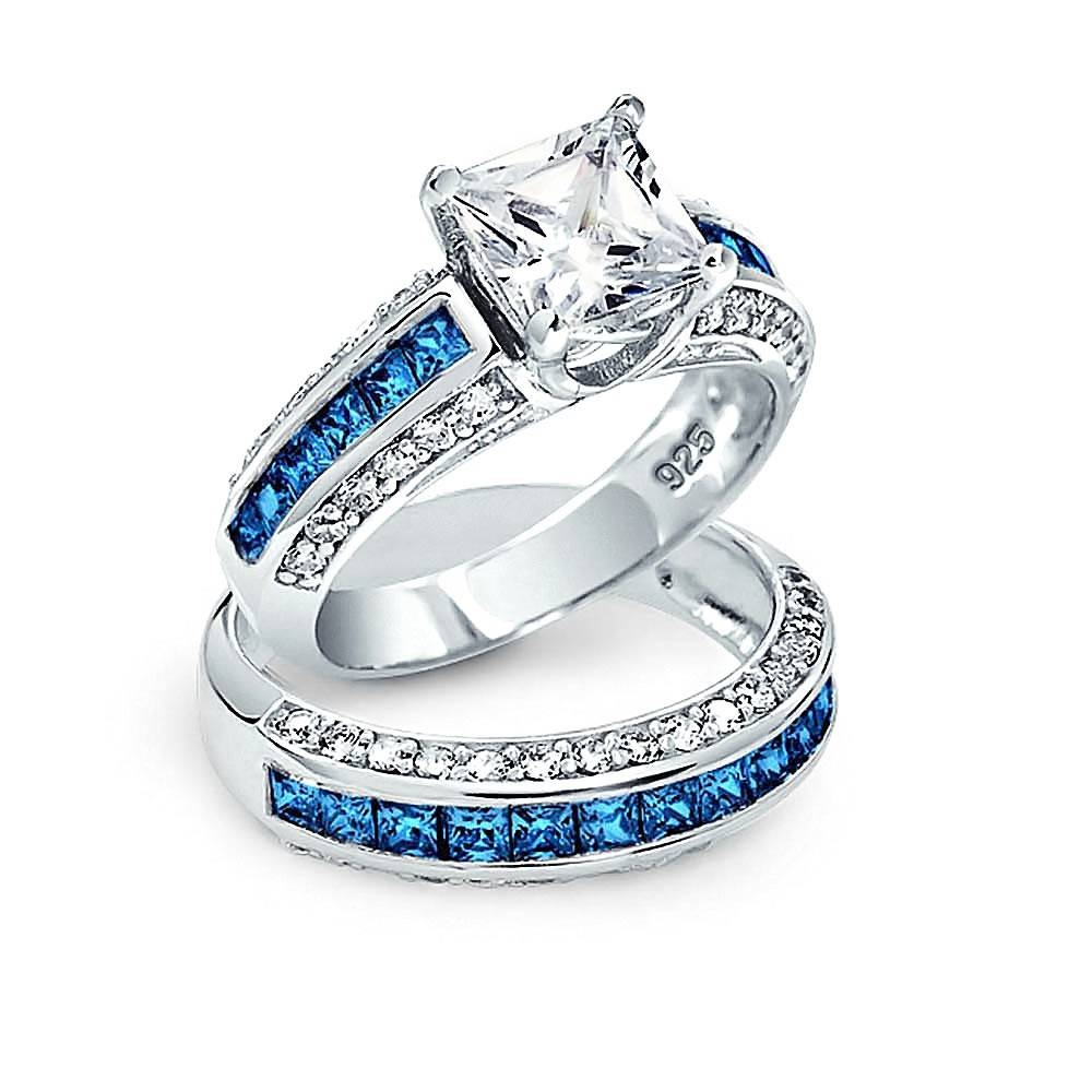 Princess Cut Cz 3 Sided Engagement Wedding Ring Set 925 Silver With Unique Princess Cut Diamond Engagement Rings (Gallery 7 of 15)