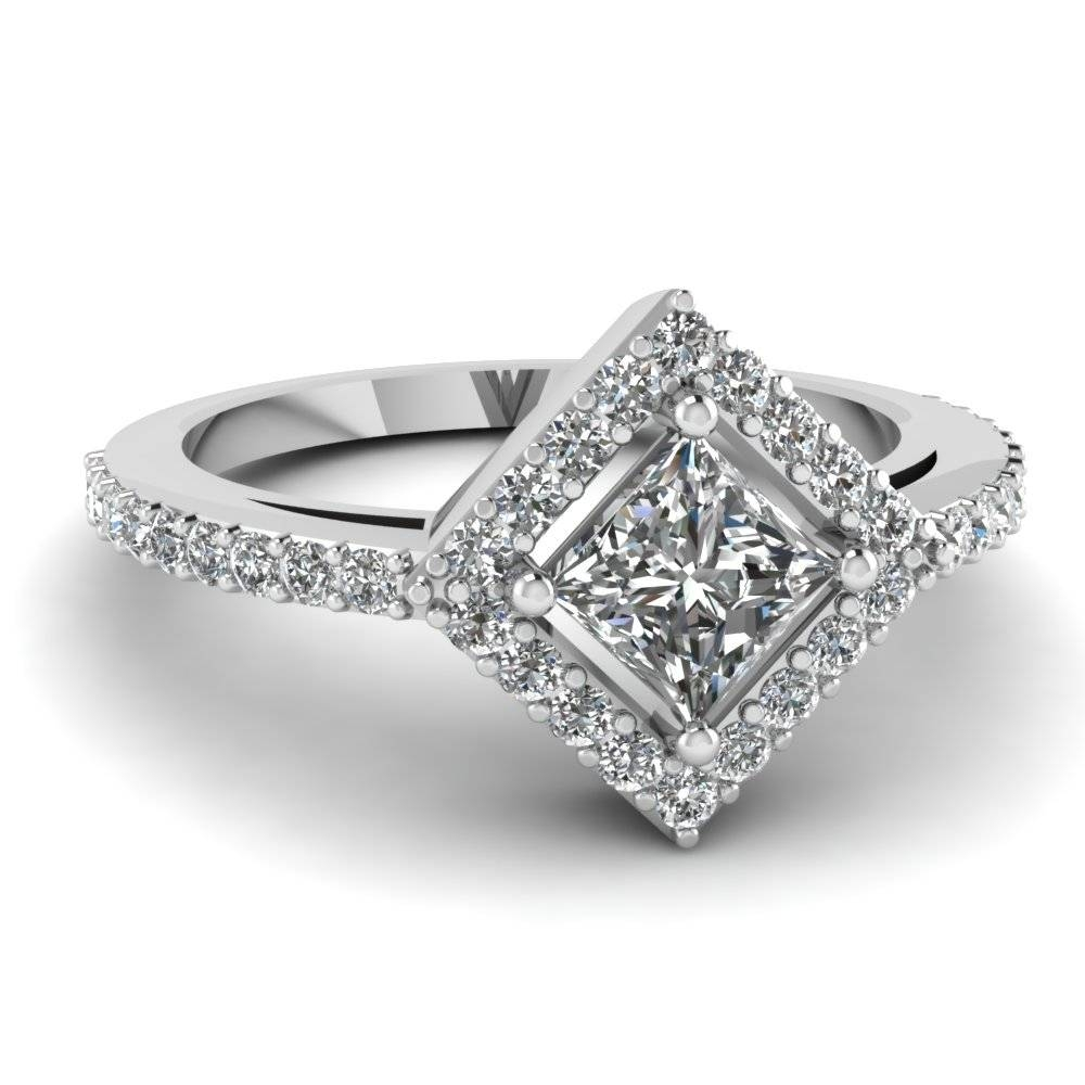 Princess Cut Diamond Engagement Ring In 14K White Gold Intended For Unique Princess Cut Diamond Engagement Rings (View 9 of 15)