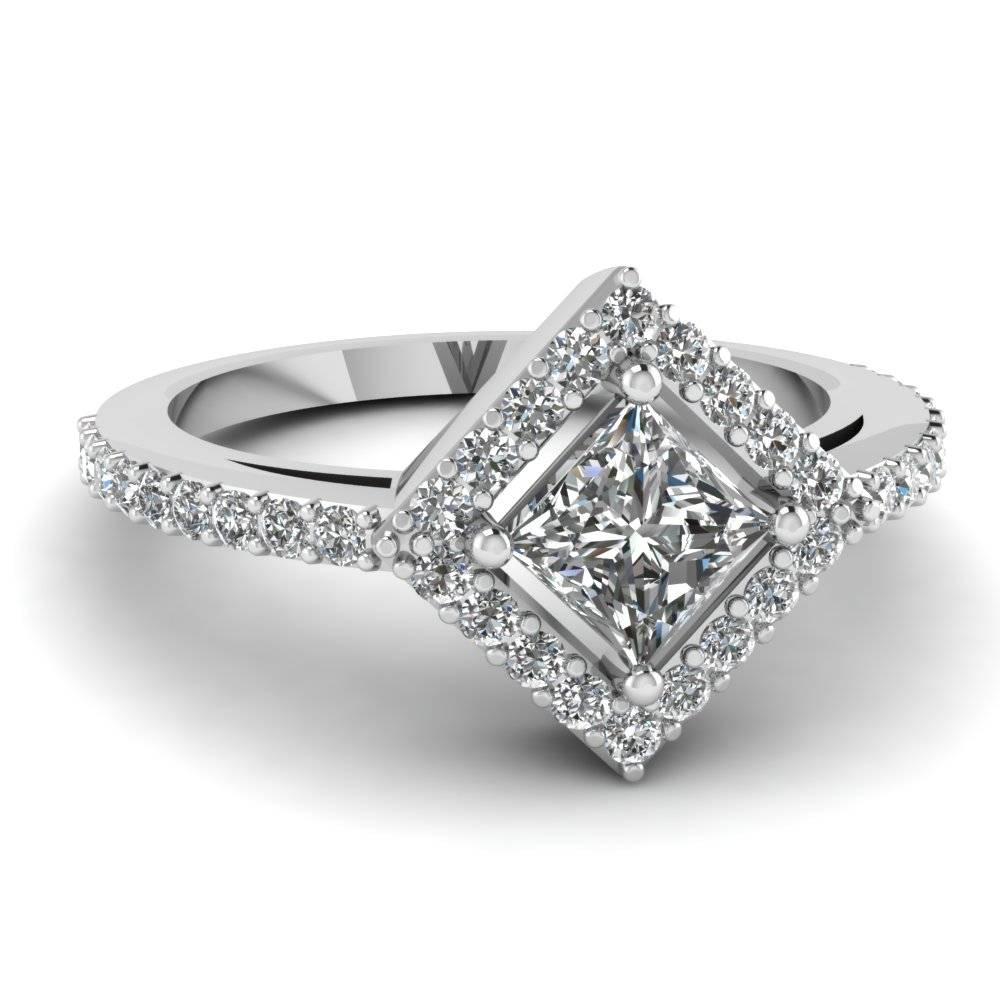Princess Cut Diamond Engagement Ring In 14K White Gold Intended For Unique Princess Cut Diamond Engagement Rings (Gallery 5 of 15)