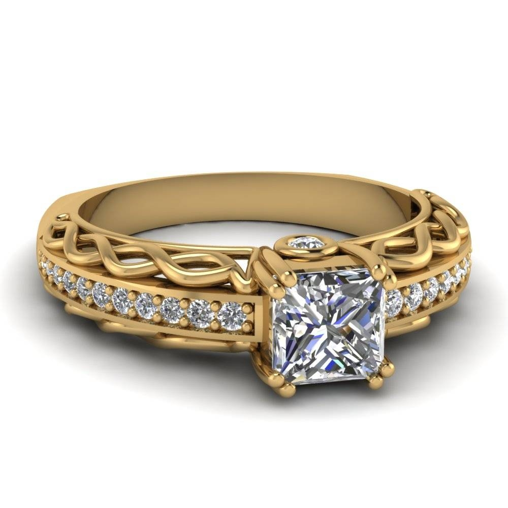 Princess Cut Diamond Engagement Ring In 14K Yellow Gold Pertaining To Vintage Yellow Gold Wedding Rings (View 10 of 15)