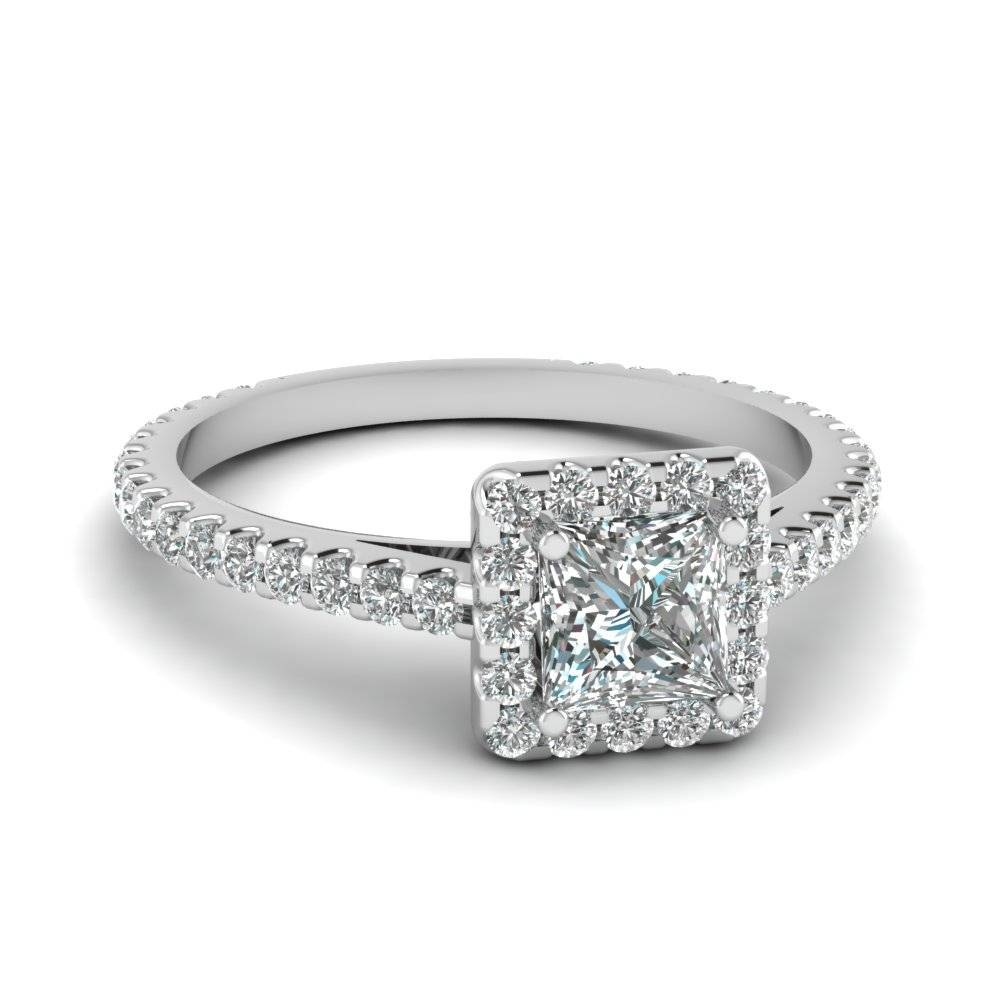 Princess Cut Diamond Floating Square Halo Ring In 14K White Gold Intended For Floating Diamond Engagement Rings (View 15 of 15)