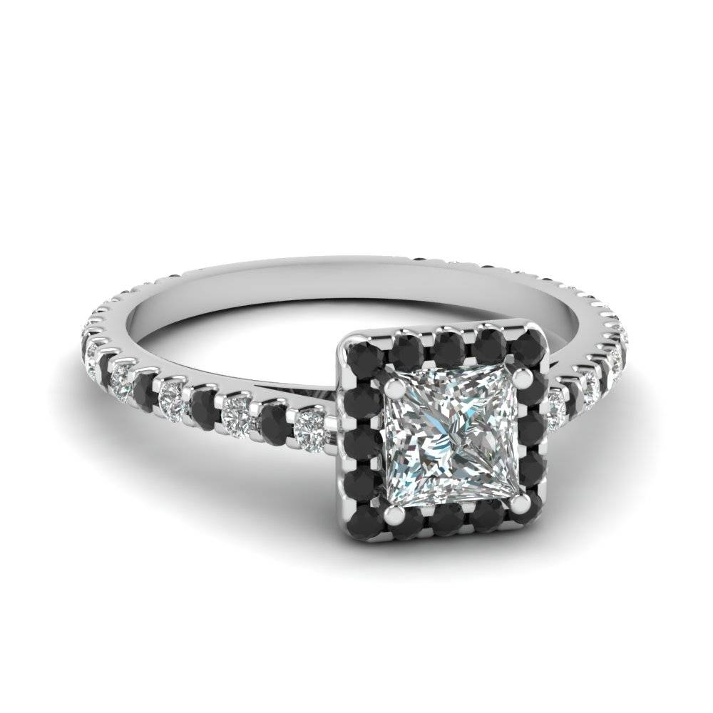 Princess Cut Diamond Floating Square Halo Ring With Black Diamond With Black And White Princess Cut Diamond Engagement Rings (View 13 of 15)
