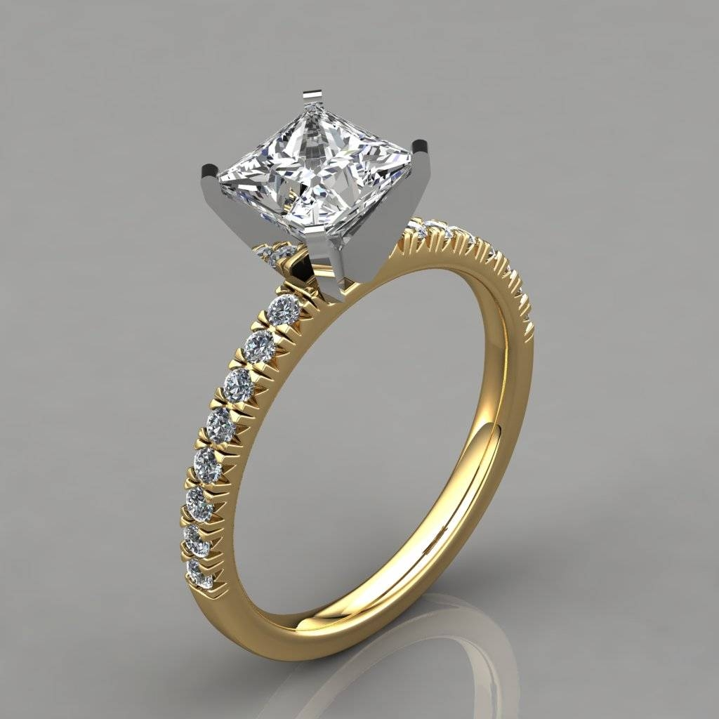 Princess Cut French Pave Engagement Ring 14K White Gold Throughout 14K Princess Cut Engagement Rings (View 15 of 15)