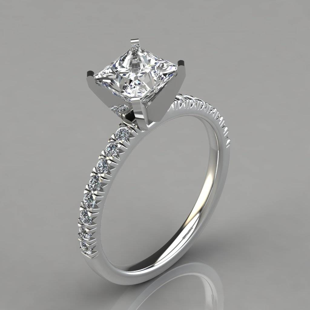 Princess Cut French Pave Engagement Ring 14k White Gold With Princess Shaped Engagement Rings (View 12 of 15)