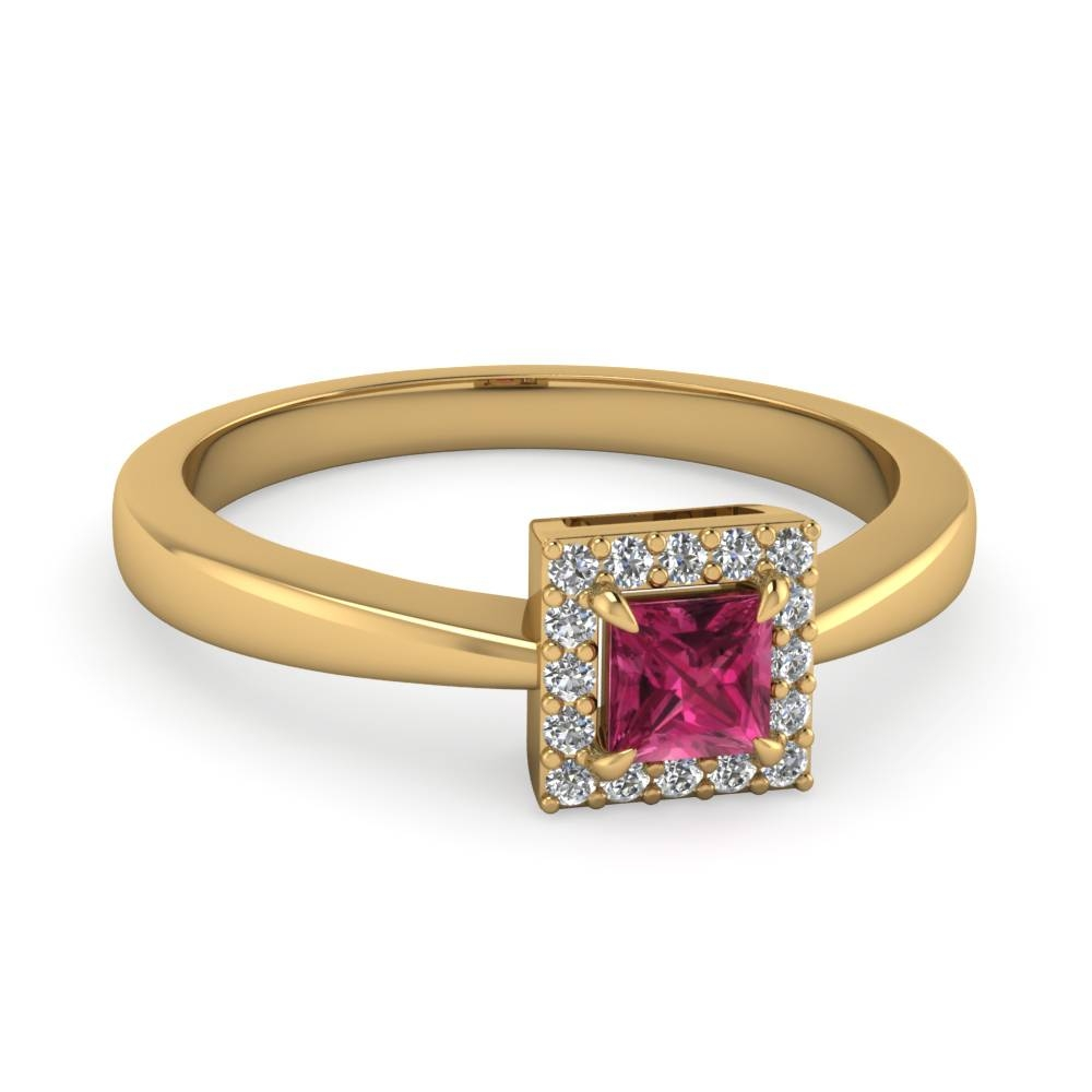 Princess Cut Halo Diamond Engagement Ring With Pink Sapphire Within Pink Sapphire Engagement Rings With Diamonds (View 12 of 15)