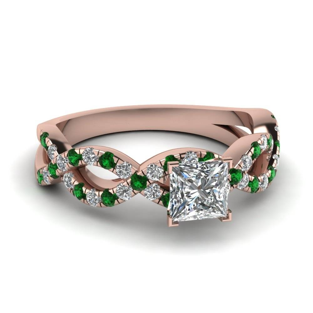 Princess Cut Infinity Diamond Ring With Emerald In 14k Rose Gold Pertaining To Engagement Rings With Side Diamonds (View 12 of 15)