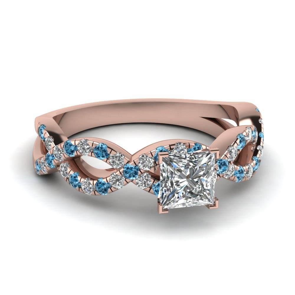 Princess Cut Infinity Diamond Ring With Ice Blue Topaz In 14K Rose Inside Princess Cut Diamond Engagement Rings With Side Stones (View 10 of 15)