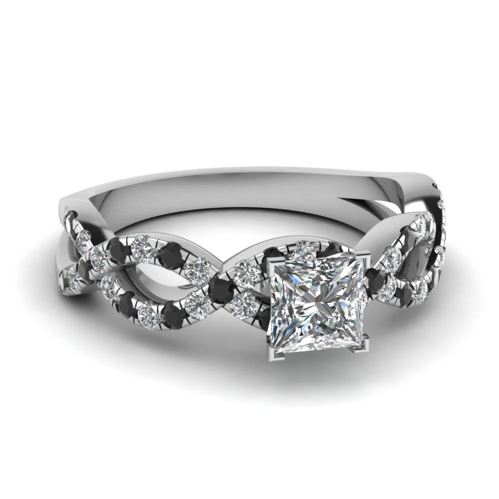 Princess Cut Infinity Ring With Black Diamond In 14k White Gold Within Black Stone Wedding Rings (View 3 of 15)