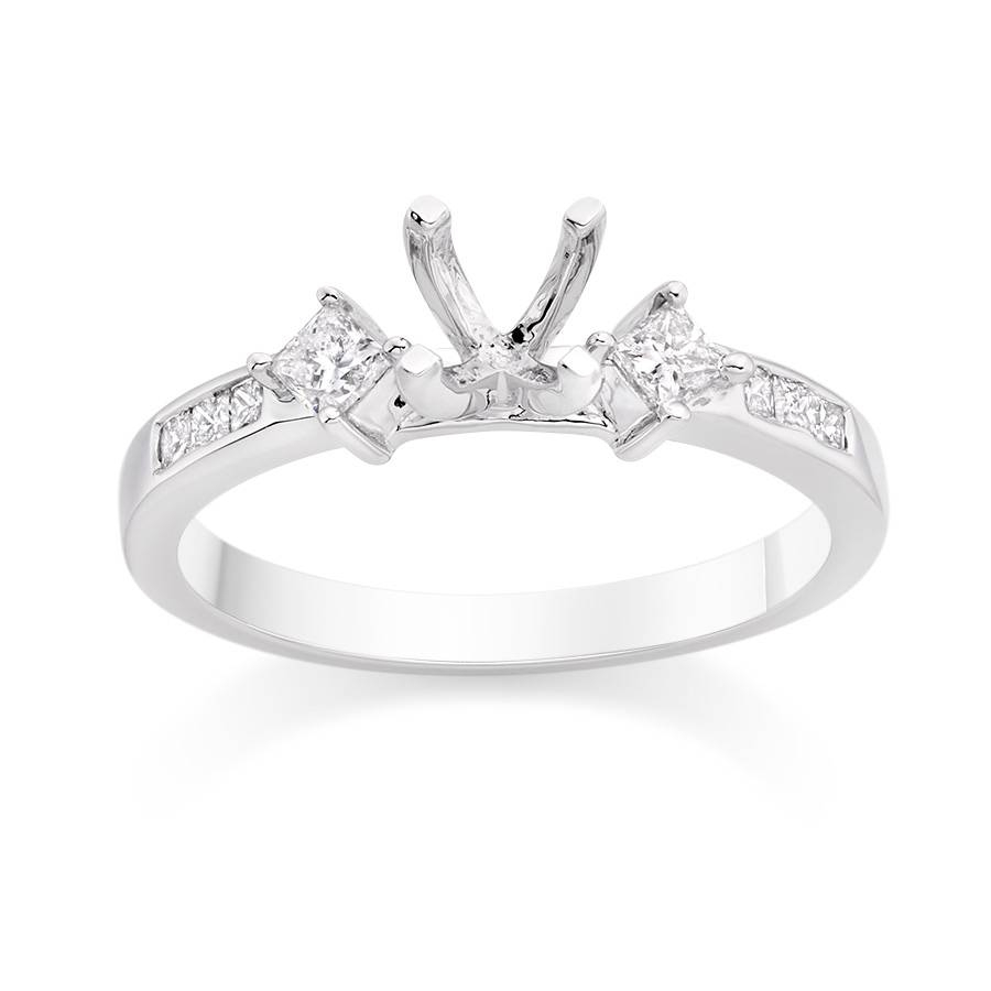 Princess Cut Side Stone Engagement Ring Setting – Vashi Inside Side Stone Engagement Rings (View 7 of 15)