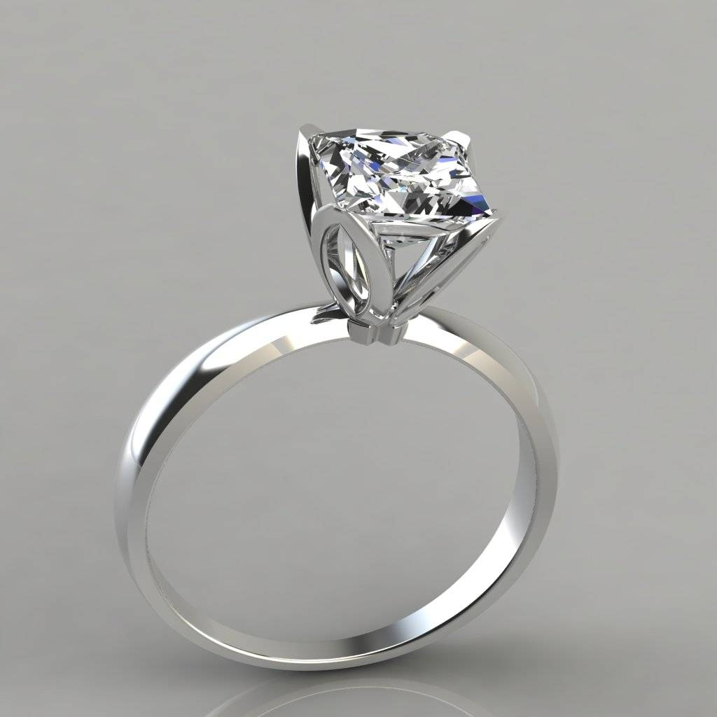Princess Cut Tulip Head Solitaire Engagement Ring – Puregemsjewels With Solitare Diamond Engagement Rings (Gallery 4 of 15)